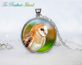 OWL PENDANT   owl necklace White owl Jewelry Necklace for him  Art Gifts for HerArt Gifts (P10015)