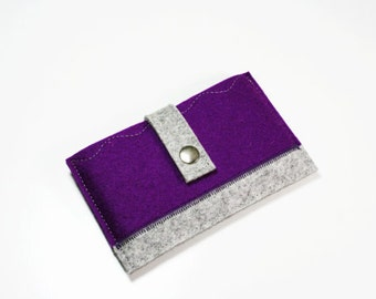 IPhone 5 case Purple - 100% merino wool felt 3mm thick