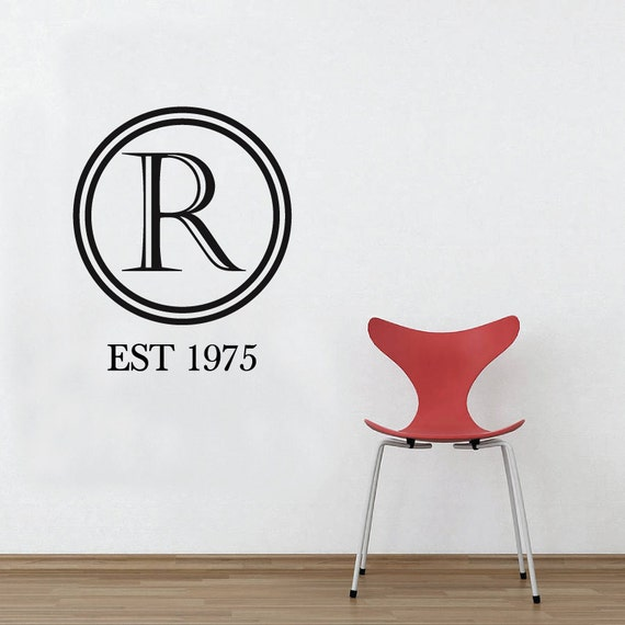 Monogram letter wall sticker removable custom decal by for Custom wall letter stickers