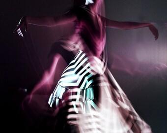 SALE Blackbird Surreal Dance Photography, Wall Art Print, Black and Purple, Movement, Women Portrait, Home Decor
