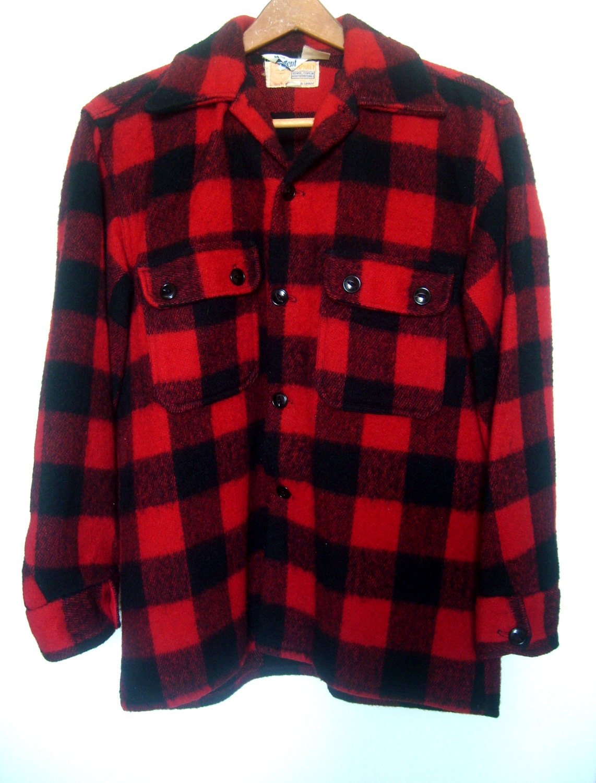 Vintage wool flannel plaid lumberjack shirt jacket red black for Mens wool flannel shirt