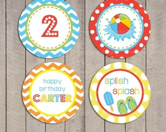 Kids Pool Party Cupcake Toppers / Pool Cupcake Toppers / Pool Party Circle / Pool Party Cupcake Toppers / Pool Birthday Printables