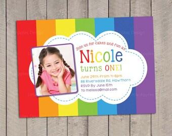 Rainbow Invitation / Rainbow Birthday invitation / Rainbow Party Invitation / Rainbow Invite / Printable DIY