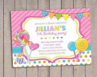 Lollipop Invitation / Candyland Invitation / Candyland Birthday Invitation / Sweet Shoppe Invitation / Candyland Birthday / Candyland Party