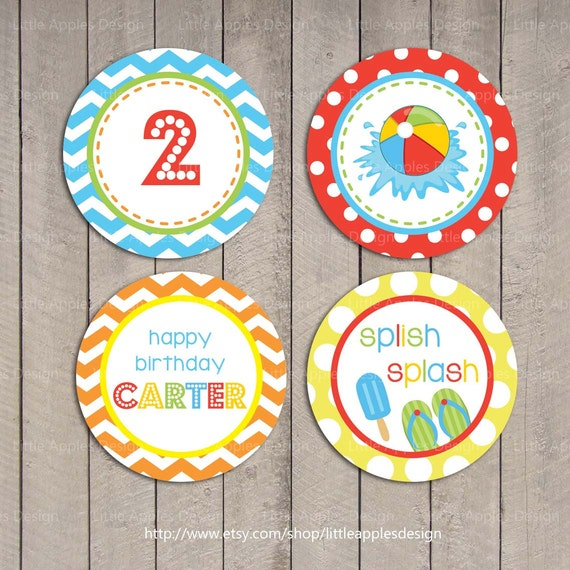 Kids Pool Party Cupcake Toppers / Pool Cupcake Toppers / Pool