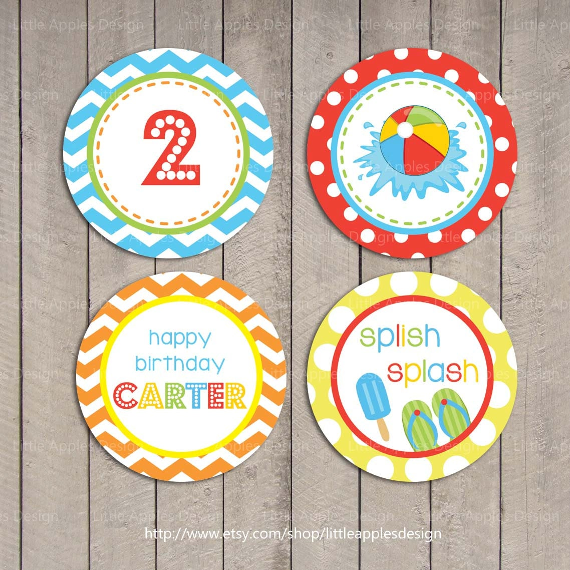 Pool Party Cupcake Toppers Para Niños / Cupcake Toppers De