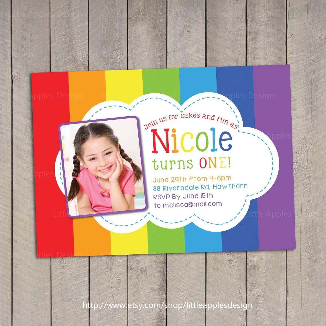Rainbow Invitation / Rainbow Birthday Invitation / Rainbow