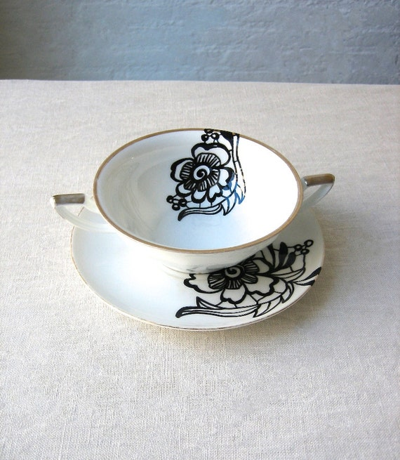 BLACK LACE: hand painted vintage lace design on set of a porcelain cup and saucer
