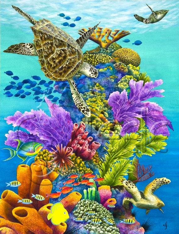 Carolyn steele painting tropical art print diverse caribbean for Caribbean reef fish