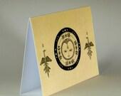 Sun eagle postcard, Card with eagles, beige  postcard, thank you card, circle card, hand folded card
