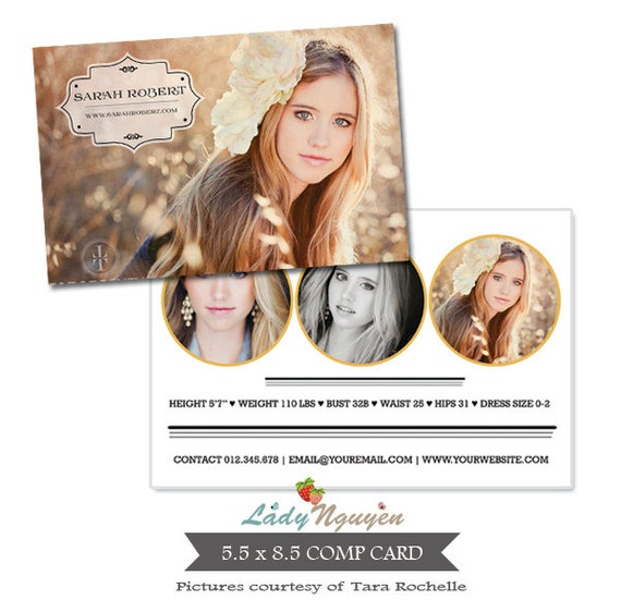 instant download modeling comp card photoshop templates ca071