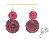 Orginal, unique, soutache earrings, handcrafted, sterling silver jewelry, pink - JustineWorld