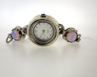 Handcrafted 925 Sterling Silver Watch Bracelet, Opalite, Israel