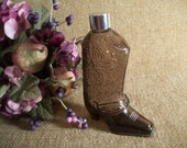 Avon Brown Glass Cowboy Boot  Decanter Western Footware Collectible Bottle After Shave Cologne Bottle Dresser Top  Man Cave Home Decor Gift