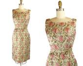 50s Dress / 1950s Dress FLORAL Brocade Bombshell Hourglass Dress / 50s Sheath Tulip Dress / Metallurgy Dress
