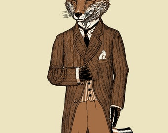 Dapper Fox Art - Fox Print 11x14 - Fox Art Print - Wall Art - Animal Print