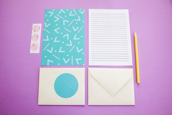 Handmade Funky Paper Letter Set Stationery: Pastel Fun