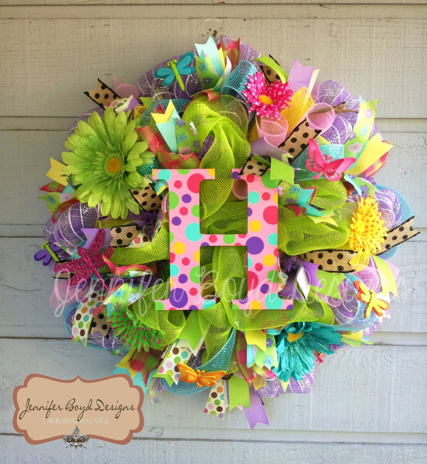 Summer or Spring Initial Monogram Deco Mesh Wreath with