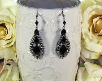 Antiqued Silver and Black Earrings