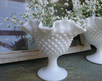 Smaller ruffled hobnail pedestal bowl