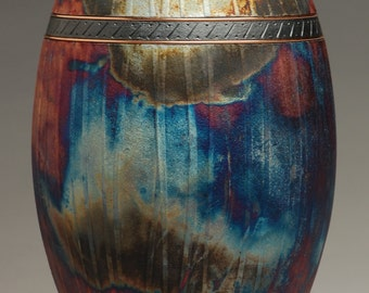 Majestic Copper Raku Urn