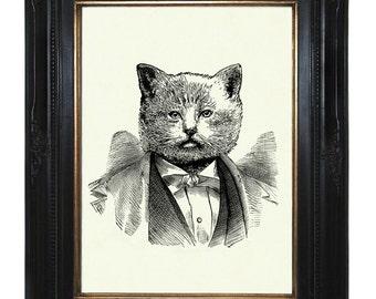 Cat Art Print Gentleman Portrait Victorian Steampunk Art Print Steampunk
