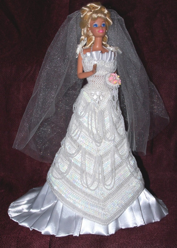 Barbie Bride Dress Wedding Gown With Veil Handstitched