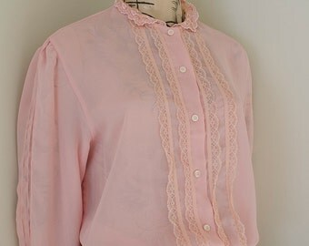 Vintage Pink Chiffon Long Sleeve Blouse