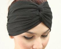 Super Black Twist Headband Modern Fashion Turban , Plain Color Style