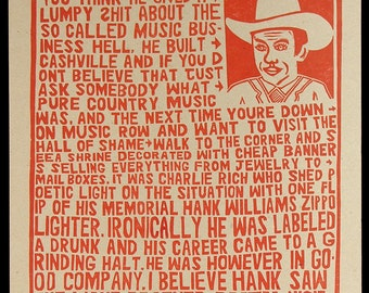 HANK WILLIAMS- Disgraceland Hand Printed Woodblock Poster