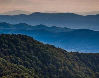 Blue Ridge Mountain Layers - Fine Art Print or Wrapped Canvas