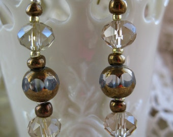 Crystal and Bronze Earrings
