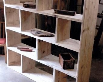 Reclaimed wooden future rustic room Divider / Shelving Unit / vinyl storage
