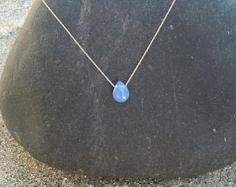 Teardrop Necklace, 14K Gold Fill, Blue Chalcedony Necklace