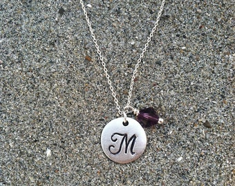 Monogram Necklace, Initial Necklace, Birthstone, Birthday Necklace