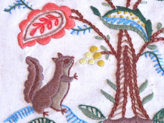 Vintage crewel embroidery two pictures squirrel and by