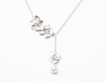 Lariat Orchids and Pearl Necklace -Gift for Mom, Gift for Her, Wedding Necklace, Bridesmaid Necklace, Gift for Best Friends, Bridal Necklac