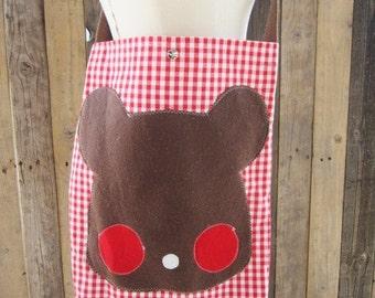 Gingham Bear Messenger Bag-Ready to Ship