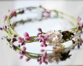 Flower Girl Headpiece: Halo, Crown, Hair Piece, Head Piece - Spring, Summer, Woodland Wedding, Lilac Purple & Green