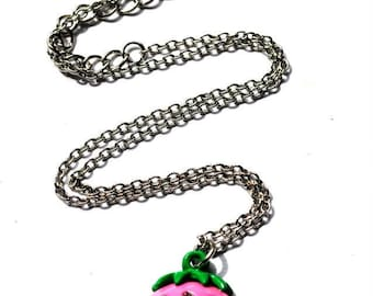 pink strawberry necklace -great quality