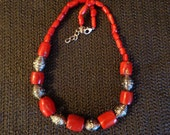 Coral & Silver Bead Necklace, Coral Necklace, Coral Jewelry, Beadwork