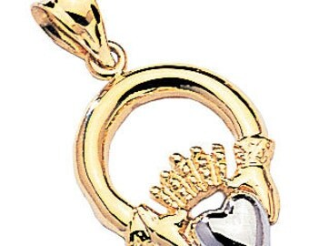 2-tone 14k gold polished finish claddagh pendant
