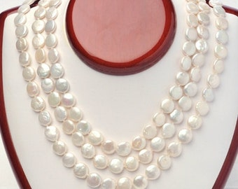 Pearl Necklace--Triple Strand Coin Pearl Necklace