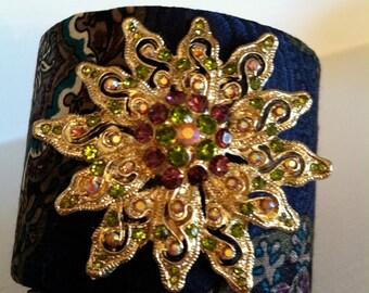 Bracelet cuff with brooch embellishment
