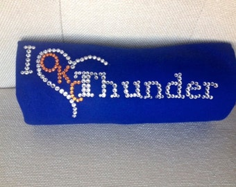 OKC Thunder t-shirt with hand placed Swarovski crystals - OKC Thunder - Russell Westbrook - MVP - Spirit Wear - Thunder Rhinestone