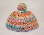 The Color of Fun - cute crochet pom pom hat fits about 9 to 24 months