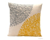 Mustard and Grey  Pillow. Geometric cushion by BeccaTextile