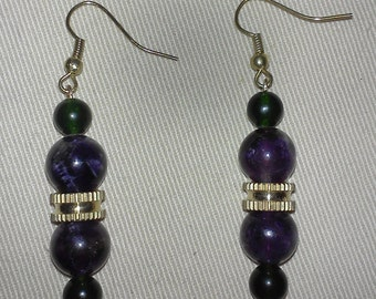 Amethyst and Green Quartzite Earrings