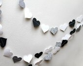 White, black, and silver glitter paper heart garland, wedding, party, decoration - Shindiggery