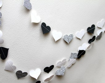 White, black, and silver glitter paper heart garland, wedding, party, decoration